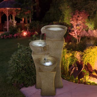 Lighted outdoor fountains for less overstock cascade bowls off white polyresin led lights fountain workwithnaturefo