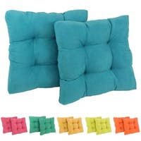 Blazing Needles Tropical 19-inch Square Tufted Microsuede Chair Cushions (Set of 2)