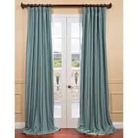 Exclusive Fabrics Blue Agave Yarn Dyed Faux Dupioni Silk Curtain Panel