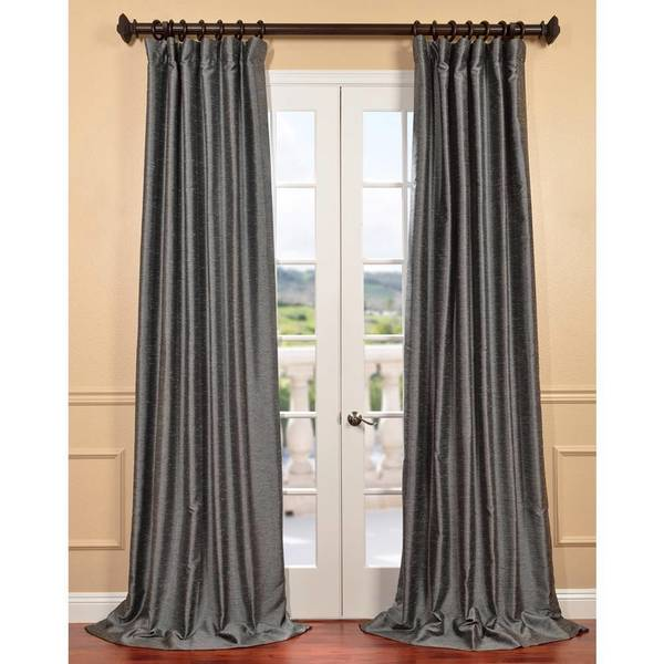 Exclusive Fabrics Salt/Pepper Yarn Dyed Faux Dupioni Silk Curtain panel. Opens flyout.