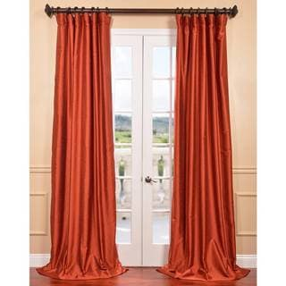 Exclusive Fabrics Blood Orange Yarn Dyed Faux Dupioni Silk Curtain Panel