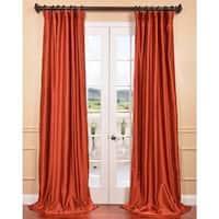 Exclusive Fabrics Blood Orange Yarn Dyed Faux Dupioni Silk Curtain Panel
