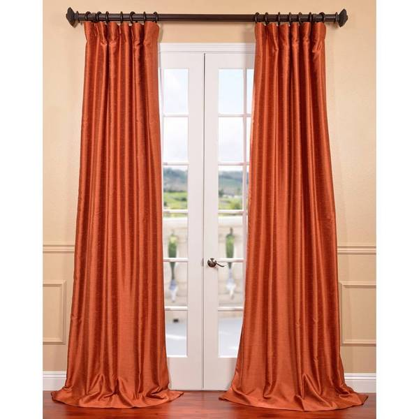 Exclusive Fabrics Poppy Fields Yarn Dyed Faux Dupioni Silk Curtain