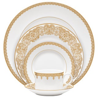 Lismore Lace Gold White 5-piece Place Setting