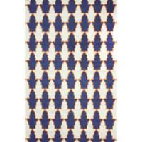 nuLOOM Flatweave Modern Trellis Navy Blue Wool Rug (5' x 8') - 5' x 8'