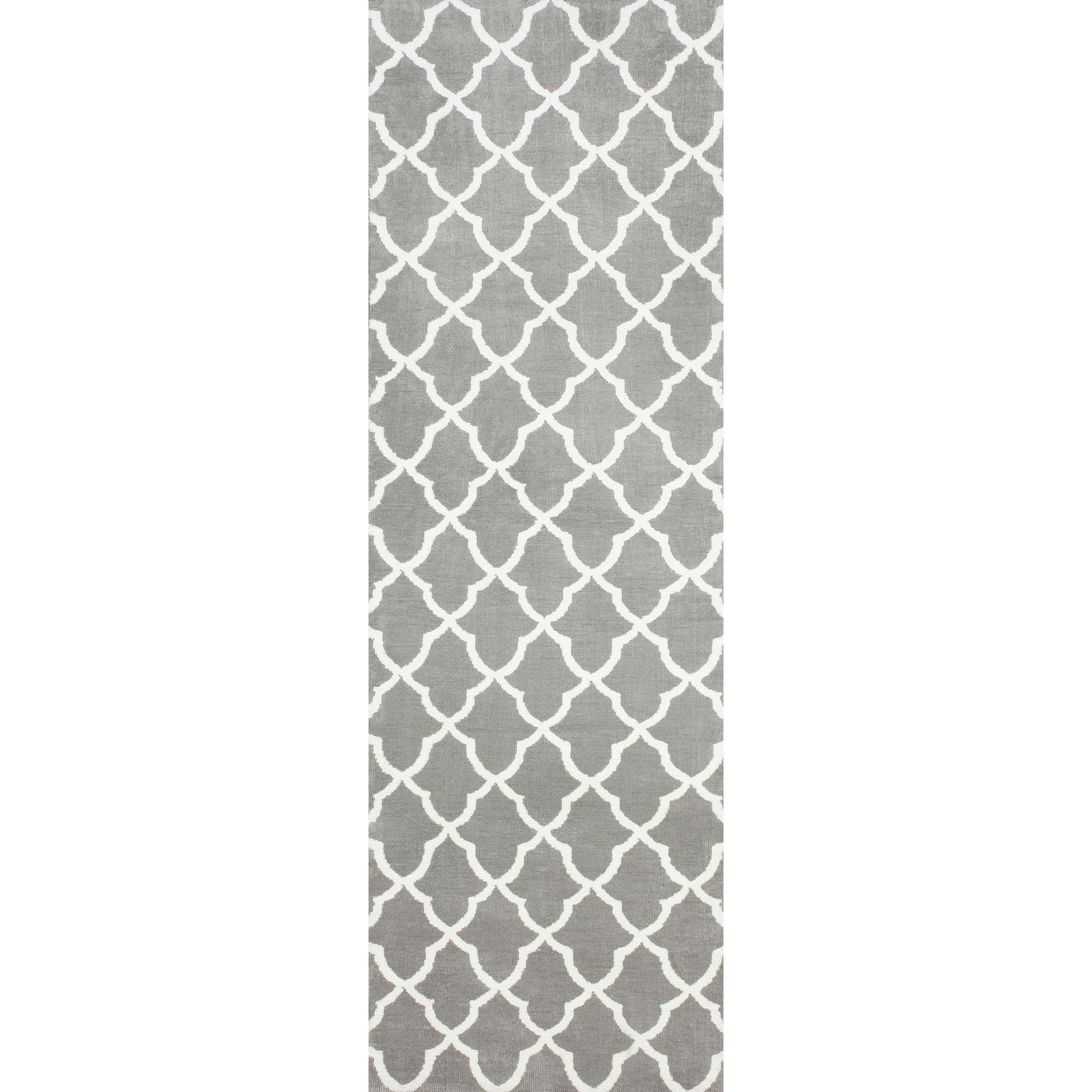 nuLOOM Kitchen Microfiber Grey Trellis Runner 2 6 x 8 Free