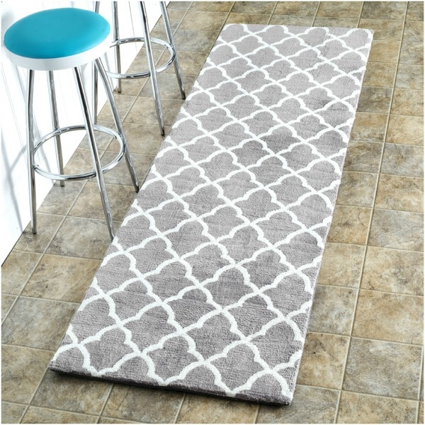 Nuloom Kitchen Microfiber Grey Trellis Runner 2 6 X 8