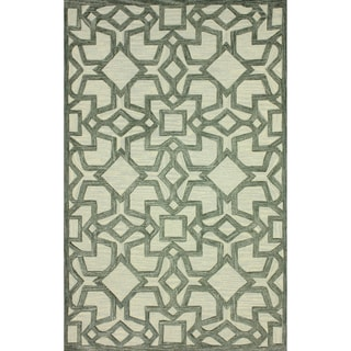 nuLOOM Handmade Transitional Lattice Grey Rug (7'6 x 9'6)