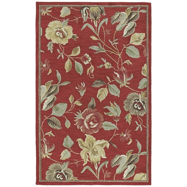 Lawrence' Raspberry Floral Hand-tufted Wool Rug - 3' x 5'