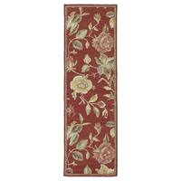 Lawrence' Raspberry Floral Hand-tufted Wool Rug (2'3 x 7'6)