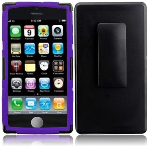 INSTEN Black/ Purple Dual Layer Hybrid PC/ Soft Silicone Holster with Stand Phone Case Cover for Apple iPhone 5C/ 5S