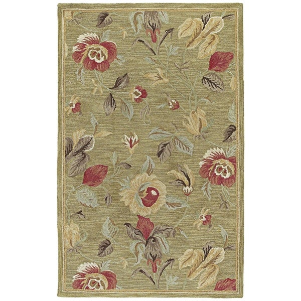 Lawrence' Light Olive Floral Hand-tufted Wool Rug - 8' x 11'