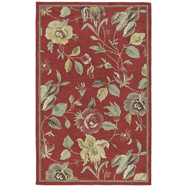 'Lawrence' Raspberry Floral Hand-tufted Wool Rug (5'0 x 7'9) - 5' x 7'9