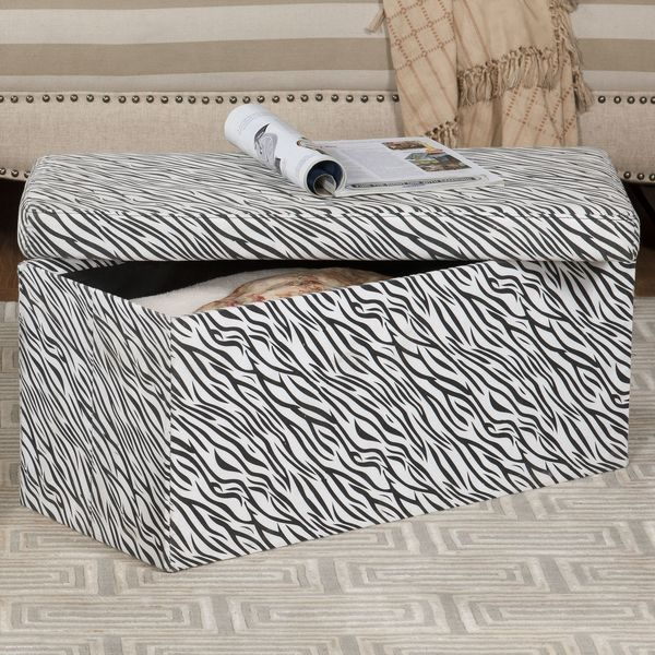 Large Zebra Print Storage Bench Free Shipping On Orders Over 45 15838173
