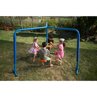 Ironkids Blue/Orange Steel and Plastic Four Station Fun-filled Merry-go-round