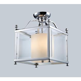 Z-Lite Chrome and Opal Glass 3-light Semi-flush-mount Light Fixture