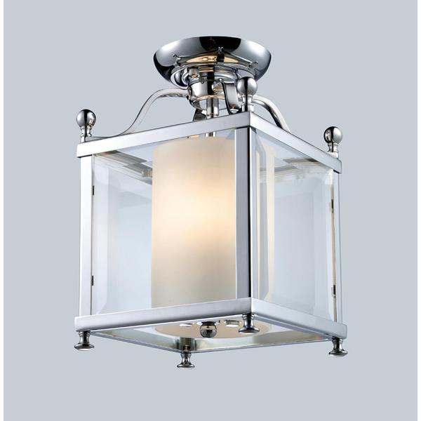 Avery Home Lighting Chrome and Opal Glass 3-light Semi-flush Mount Fixture