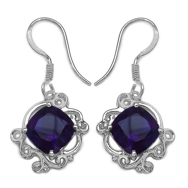 Sterling Silver 5 60ct Tgw Genuine Amethyst Earrings
