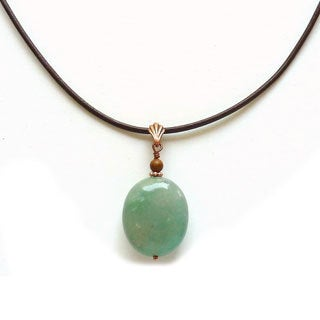 Every Morning Design Red Berry Agate Pendant and New Jade