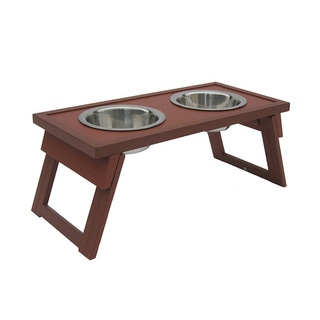 Large Russet Raised Dog Double Diner