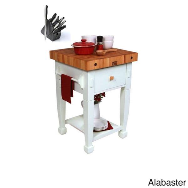 John Boos JASMN24243-D-S Jasmine 24x24 Butcher Block with Henckels 13 Piece Knife Block Set