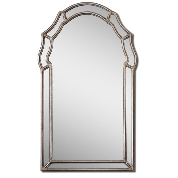 Uttermost Petrizzi Antique Silver Leaf Arched Mirror - Silver/Grey - 21x35x1.25. Opens flyout.