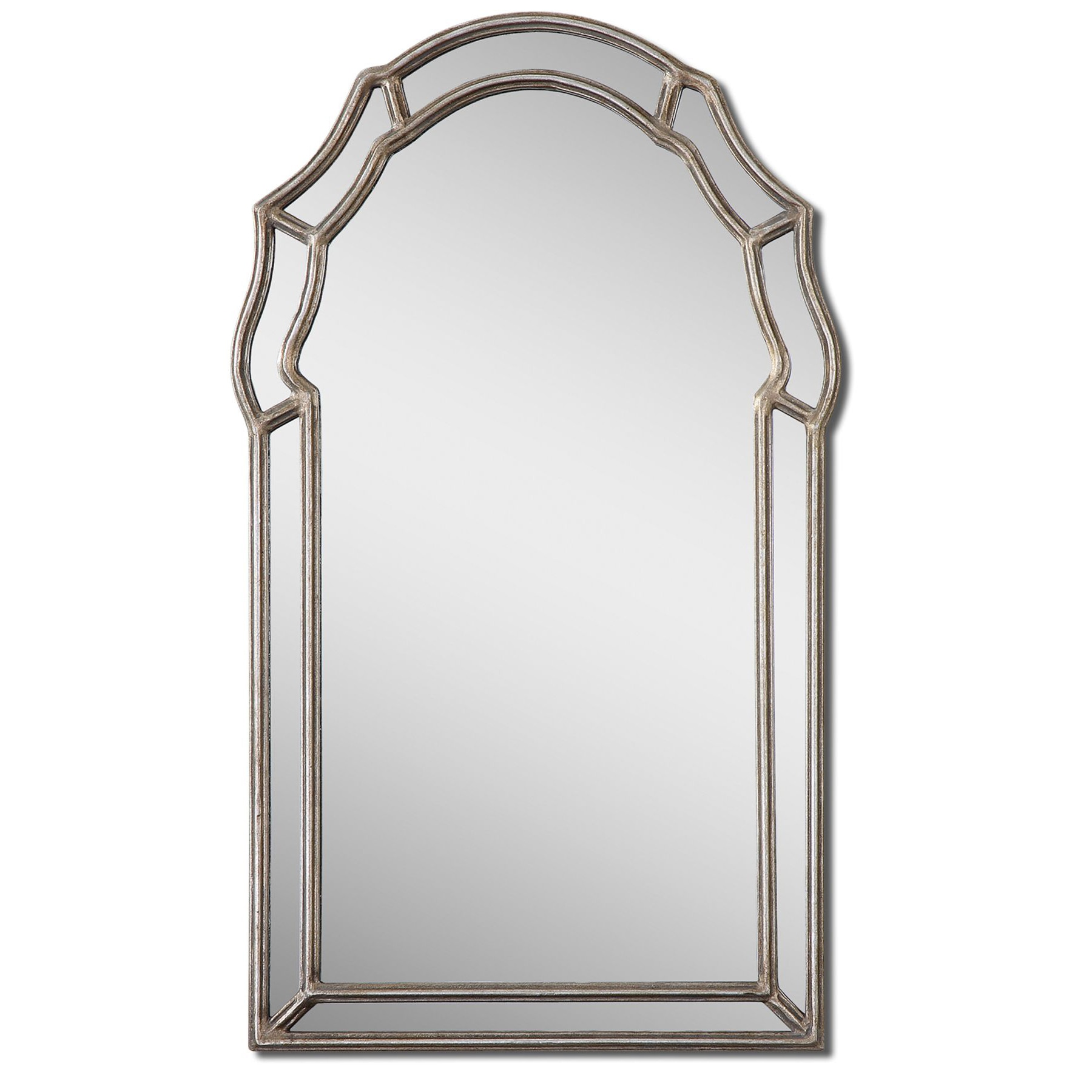 Uttermost Petrizzi Antique Silver Leaf Arched Mirror - Silver/Grey - 21x35x1.25 (Antique Silver Leaf Mirror)
