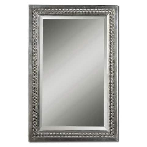 Uttermost Triple Beaded Silver Leaf Vanity Mirror - 23.125x35.125x1.5