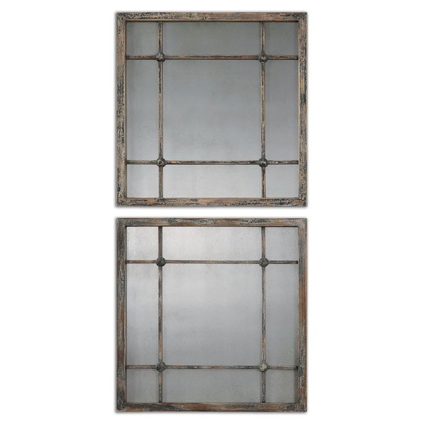Uttermost Saragano Slate Blue Square Mirrors (Set of 2)