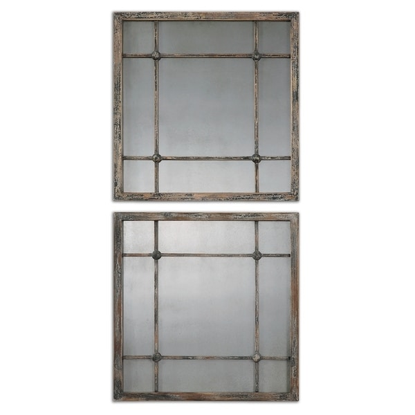 Uttermost Saragano Slate Blue Square Mirrors (Set of 2) - 19x19x1