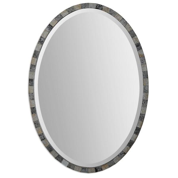Uttermost Paredes Dark Antique Oval Mirror - Silver