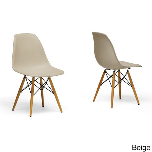Studio azzo red plastic mid century modern shell chair set of 2