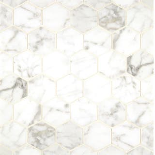 White Carrara Marble Hexagon Mosaic Polished (Box of 10 sheets)|https://ak1.ostkcdn.com/images/products/8564379/White-Carrara-Marble-Hexagon-Mosaic-Polished-Box-of-10-sheets-P15840315.jpg?impolicy=medium