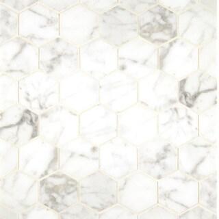 White Carrara Marble Hexagon Mosaic Polished (Box of 10 sheets)