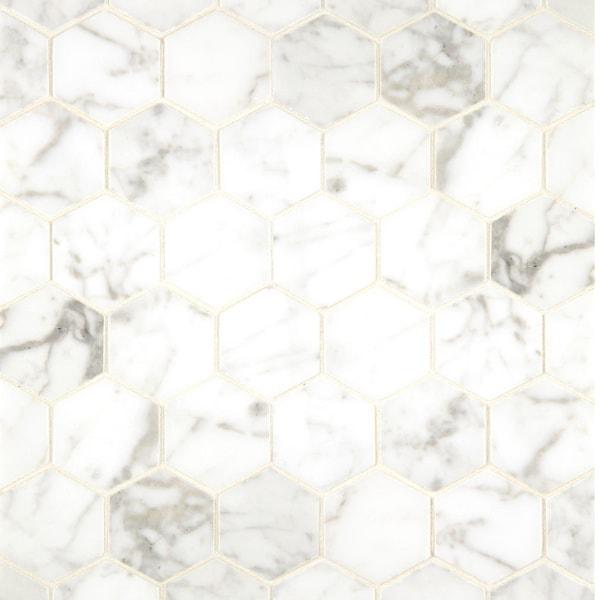 White Carrara Marble Hexagon Mosaic Polished Box Of 10 Sheets