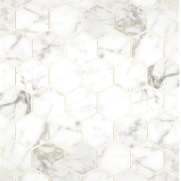 White Carrara Marble Hexagon Mosaic
