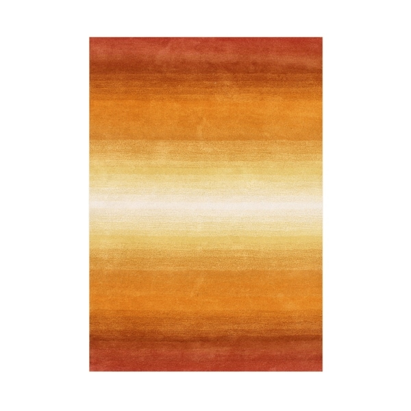 Shop Alliyah Hand Made Orange New Zeeland Blend Wool Rug