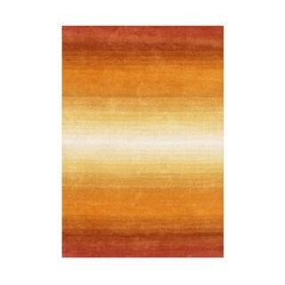 Alliyah Hand Made Orange New Zeeland Blend Wool Rug 8x10 - 8' x 10'