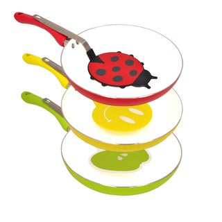 Colored Ceramic Coated Non-stick Aluminum Fry Pan with Matching Spatula