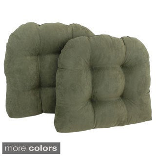 Blazing Needles Earthtone U-shaped Tufted Microsuede Chair Cushions (Set of 2)