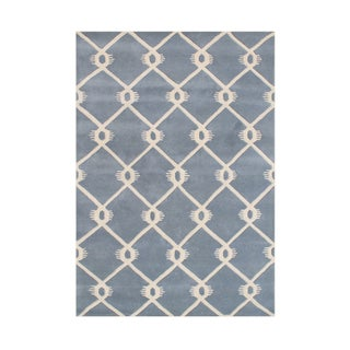 Alliyah Handmade Bluish Grey New Zealand Blend Wool Rug (8' x 10')