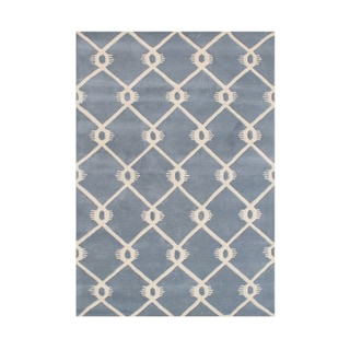 Alliyah Handmade Bluish Grey Wool Rug (5' x 8')