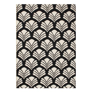 Alliyah Handmade Black New Zeland Blend Wool Rug (5' x 8')