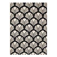 Alliyah Handmade Black New Zeland Blend Wool Rug - 5' x 8'