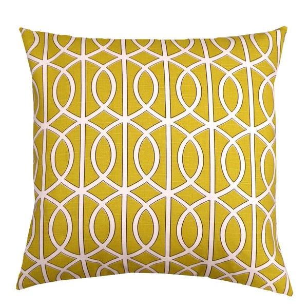 Mustard Yellow Trellis Chain 20 Inch Decorative Down Pillow