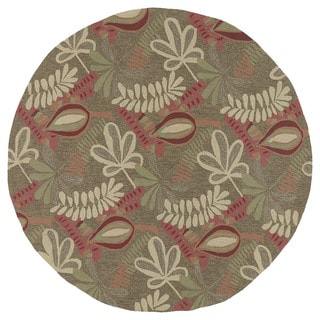Fiesta Aloha Chocolate Leaves Round Rug (7'9 x 7'9)