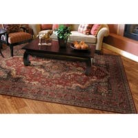"Couristan Old World Classics Kerman Medallion/Burgundy Wool Area Rug - 5'3"" x 7'6"""