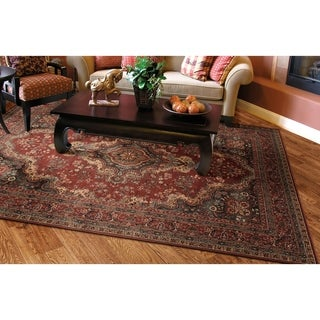 Couristan Old World Classics Kerman Medallion/Burgundy Wool Area Rug - 5'3 x 7'6