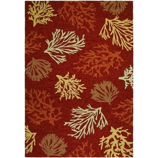 Hand Hooked Outdoor Escape Sea Reef Terra Cotta Rug (5'6 x 8')