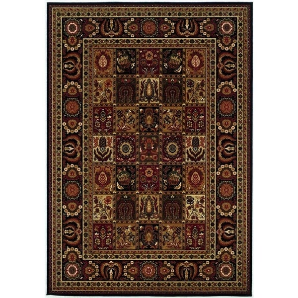Couristan Royal Kashimar Antique Nain Black Wool Area Rug 5 X27 3